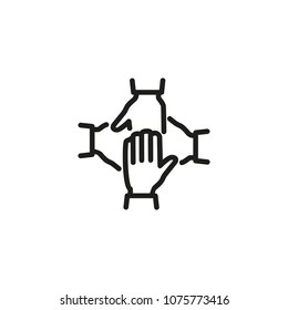 Stack of four hands line icon. Team, unity, friendship. Teamwork concept. Can be used for topics like business, cooperation, partnership