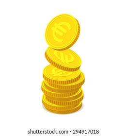 Stack from gold coins with euro sign. Coins is falling from the top so stack is increasing. Income concept