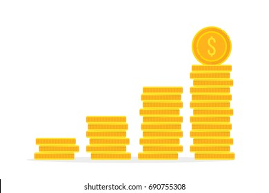 stack of golden coin like income graph. cartoon flat style trend modern simple logo graphic design isolated on white. concept of monetary collection or strategy of profit or benefit making in business