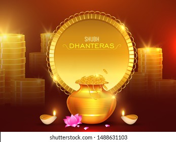 Stack of golden coins with wealth pot, lotus flower and illuminated oil lamp (Diya) on shiny brown background for Shubh Dhanteras celebration concept.
