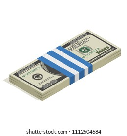 Stack of hundred-dollar bills, bundle of banknotes, pile of cash, paper money. The concept of financial success and wealth. Isometric vector illustration isolated on white background