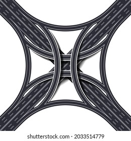Stack interchange four level road, four way interchange with loop ramps, underpass and overpass. Detailed intersection on white background. Vector Illustration