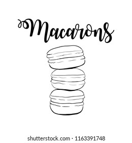 Stack of macaron, macaroon almond cakes, sketch style vector illustration isolated on white background. Sweet bakery. Stack, pile of almond macaron, macaroon biscuits, sweet and beautiful dessert