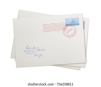 Stack mail envelopes, isolated. Correspondence in the form of several letters, front view. Mail, addressee, waiting, concept. Vector illustration of several white covers