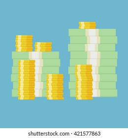 Stack of money dollars. Gold coins. Simple, flat style. Graphic vector illustration.