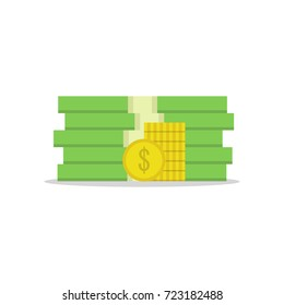 Stack of money dollars. Gold coins. Vector illustration.