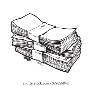 Stack of money. Hand drawn vector illustration. Isolated