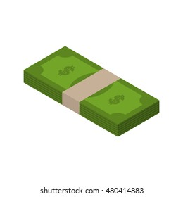 Stack of money isometric. tutu of dollars on white background. wad of cash isolated