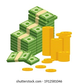 Stack of money. Packing in bundles of bank notes, bills fly, gold coins. Flat vector cartoon illustration. Objects isolated on a white background.