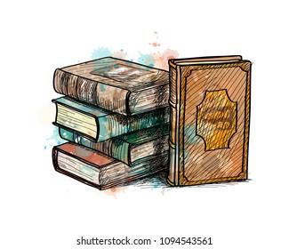 Stack of multi colored books