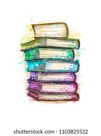 Stack of multi colored books from a splash of watercolor, hand drawn sketch. Vector illustration of paints