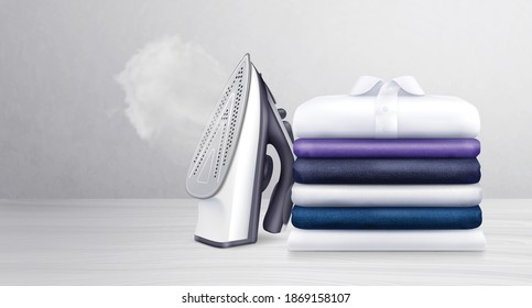 Stack of neatly folded clean clothes and iron with water vapor realistic vector illustration