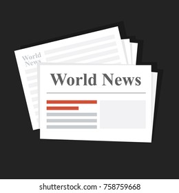 Stack of news newspapers. World News. Daily or weekly printed edition. Distribution of financial and international news. Flat vector illustration,