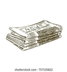 Stack of newspapers. Vintage style. Sketch. Vector illustration.