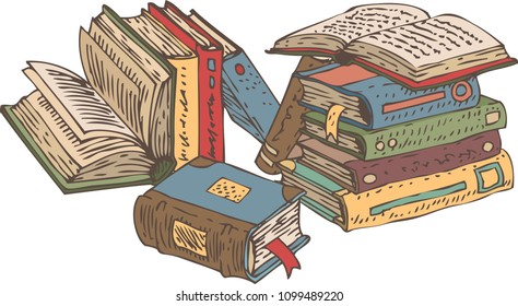 Stack of Old Books. Hand Drawn Vector illustration. Isolated on White Background