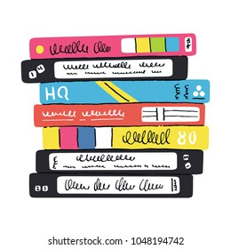 Stack of old video tapes with colorful covers. Hand-drawn inky  doodle. Vector illustration.