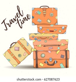 Stack of old vintage suitcases. Retro elements can be used for holiday cards, invitation, postcard or website. Hand drawn illustration of different travel bags.