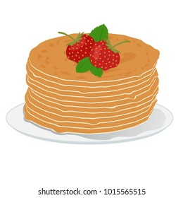 Stack of pancakes with strawberries and mint leaves. Hand drawn illustration. Shrovetide, Maslenitsa
