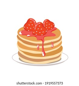 A stack of pancakes with strawberry syrup on a plate. Vector flat cartoon illustration. White background, isolated.