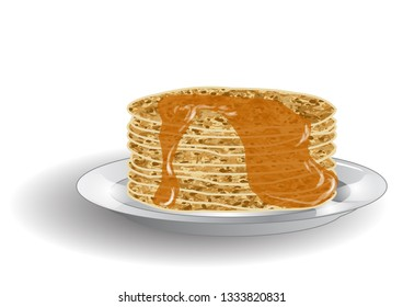 stack of pancakes and syrup isolated on white