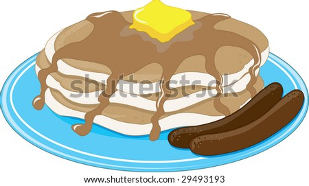 A stack of pancakes with two sausages