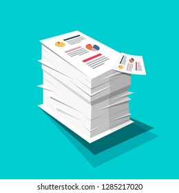 Stack of Paper. Business Documents with Graphs and Text Pile. Vector Flat Design Documents Illustration on Blue Background.