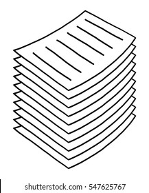 stack of paper / cartoon vector and illustration, black and white, hand drawn, sketch style, isolated on white background.