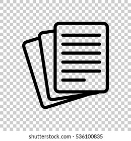 Stack Of Paper icon. Black icon on transparent background.