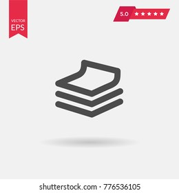 Stack of papers flat vector icon. Pile of documents simple illustration. Database pictogram.