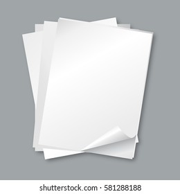 Stack of papers. Isolated blank white paper sheets, letter vector background. Empty papper for paper document office illustration