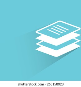 stack of papers on blue background, flat and shadow theme