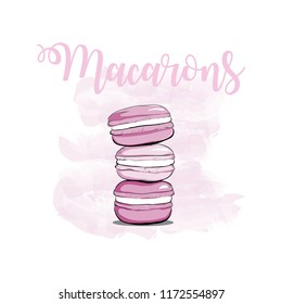 Stack of pink watercolor macaron, macaroon cakes, sketch style vector illustration isolated on white background. Stack, pile of colorful almond macaron, macaroon biscuits, sweet and beautiful dessert