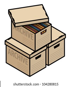 A stack of plain cardboard archive boxes, one with lid half off and showing multicolor folders/files.