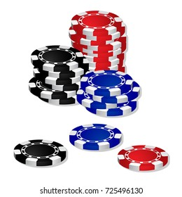 stack of Poker chips casino game vector isolated