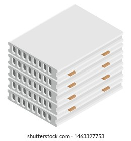 Stack of precast concrete solid blocks isometric view isolated on white background