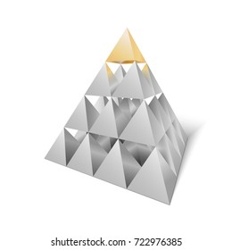 Stack of pyramids that makes another pyramid with golden one on the top. Suitable for business or other design
