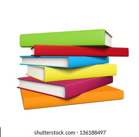 Stack of realistic colored books with empty covers. EPS10 vector.