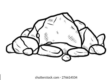stack of rocks / cartoon vector and illustration, black and white, hand drawn, sketch style, isolated on white background.