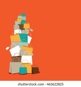 Stack of shopping bags background. EPS 10 vector stock illustration