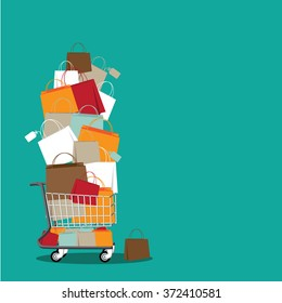 Stack of shopping bags in a cart background. EPS 10 vector stock illustration
