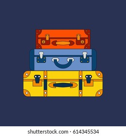 A stack of suitcases. Travel symbols. Vector illustration