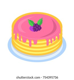 Stack of tasty pancakes drenched with berry syrup icon. Pile of crepes on plate with jam and fresh blackberry isolated flat vector. Western cuisine traditional dish illustration for culinary concepts