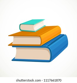 Stack of three different colored books lies on a white background
