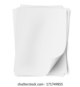 Stack of three empty white sheets of A4 paper with one deflected corner isolated