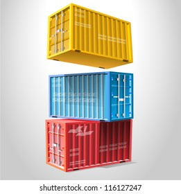 A stack of three sea freight containers vector illustration isolated on white background