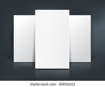 Stack of three white paper sheets for booklet, business card design or flyer mock up template on black vector background