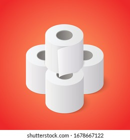 Stack of Toilet paper rolls on red background. Isometric vector illustration