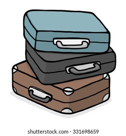 stack of travel bags / cartoon vector and illustration, hand drawn style, isolated on white background.