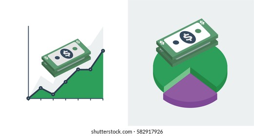 A stack of US dollar bills either in front of a line graph or pie chart vector illustration icons