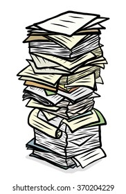 stack of used papers / cartoon vector and illustration, hand drawn style, isolated on white background.